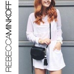 Rebecca Minkoff suki mini cross body tassel saddle black leather bag